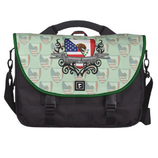 Mexican-American Shield Flag Bags For Laptop