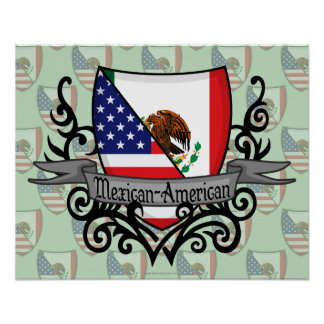 Mexican-American Shield Flag Poster