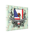 Mexican-American Shield Flag Stretched Canvas Prints