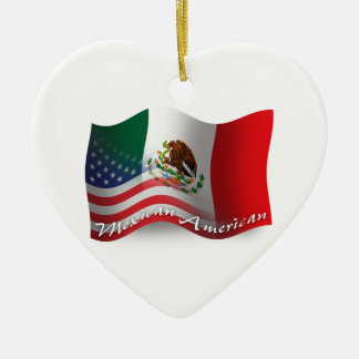 Mexican-American Waving Flag Christmas Ornament