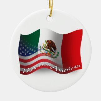 Mexican-American Waving Flag Christmas Ornament