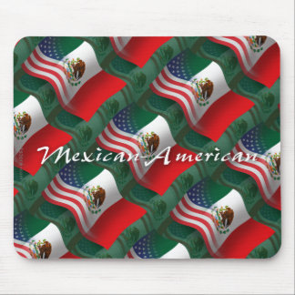 Mexican-American Waving Flag Mouse Pad
