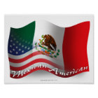 Mexican-American Waving Flag Poster