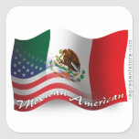 Mexican-American Waving Flag Square Stickers