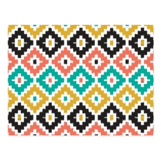 Mexican Aztec Tribal Print Ikat Diamond Pattern Postcard