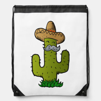 mexican cactus with mustache drawstring bag