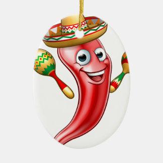 Mexican Cartoon Red Chilli Pepper Mascot Christmas Ornament