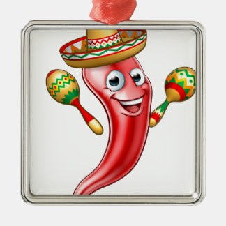 Mexican Cartoon Red Chilli Pepper Mascot Christmas Ornament