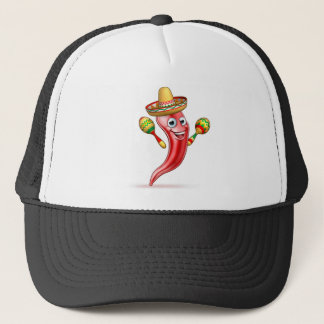 Mexican Cartoon Red Chilli Pepper Mascot Trucker Hat