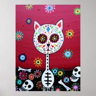 MEXICAN CAT DIA DE LOS MUERTOS PAINTING POSTER