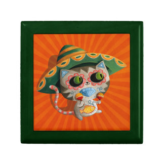 Mexican Cat with Sombrero Small Square Gift Box
