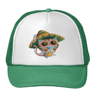 Mexican Cat with Sombrero Mesh Hat