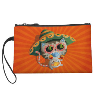 Mexican Cat with Sombrero Wristlet Clutch