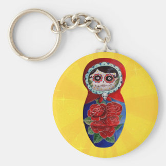Mexican Catrina Matryoshka Basic Round Button Key Ring