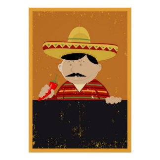 Mexican Chef Cook Menu Poster