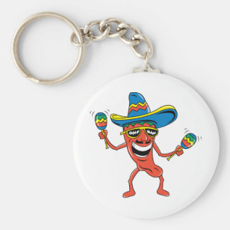Mexican Chili Pepper Basic Round Button Key Ring