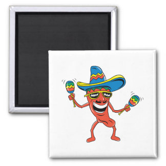 Mexican Chili Pepper Square Magnet