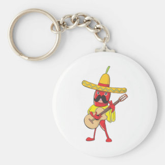 Mexican Chili Playing a Guitar Basic Round Button Key Ring
