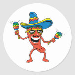 Mexican Chilli Pepper Round Stickers