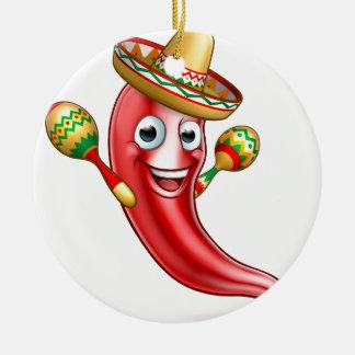 Mexican Chilli Pepper with Maracas and Sombrero Round Ceramic Decoration