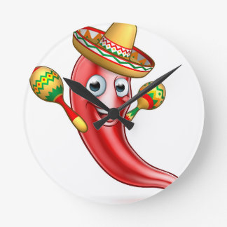 Mexican Chilli Pepper with Maracas and Sombrero Round Clock