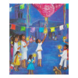 Mexican Christmas, Children and pinatas Poster