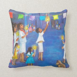 Mexican Christmas, Children and pinatas Throw Cushions