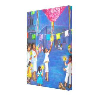 Mexican Christmas, Pinatas in the street Canvas Print