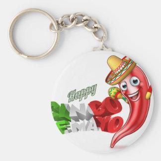 Mexican Cinco De Mayo Chilli Pepper Design Key Ring