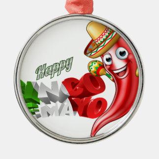 Mexican Cinco De Mayo Chilli Pepper Design Silver-Colored Round Decoration