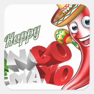 Mexican Cinco De Mayo Chilli Pepper Design Square Sticker