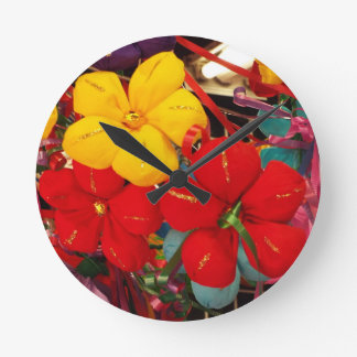 Mexican Crepe Flowers Wall Clock