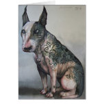 Mexican day of the dead bull terrier greeting card