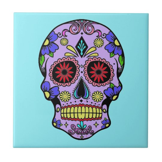 Mexican Day of the Dead Skull Ceramic Turquoise