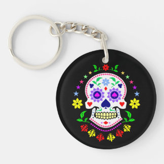 Mexican Day of the Dead Sugar Skull Double-Sided Round Acrylic Keychain