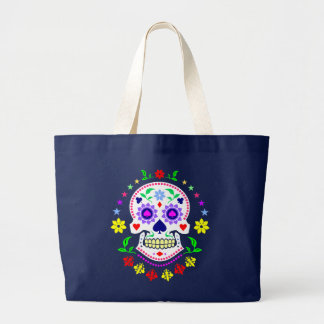 Mexican Day of the Dead Sugar Skull Large Tote Bag