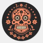 Mexican Day of the Dead Sugar Skull Round Sticker