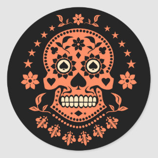 Mexican Day of the Dead Sugar Skull Round Sticker