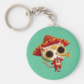 Mexican El mariachi Cute Cat Basic Round Button Key Ring