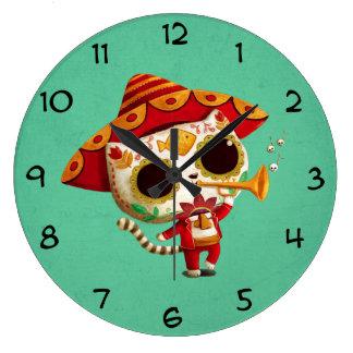 Mexican El mariachi Cute Cat Clock