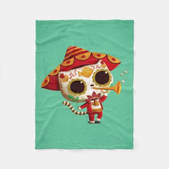 Mexican El mariachi Cute Cat Fleece Blanket