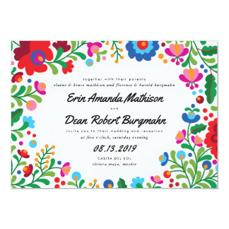 Mexican Embroidery Colorful Wedding Invitation