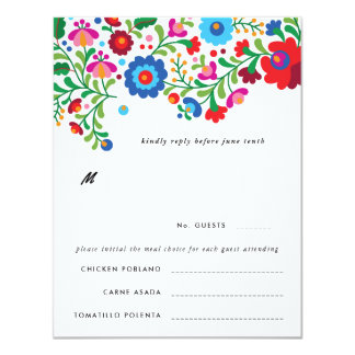 Mexican Embroidery Colorful Wedding RSVP Reply Card