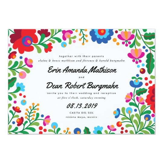 Mexican Embroidery Colourful Wedding Invitation