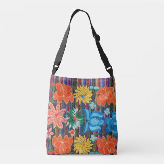 Mexican embroidery design cross body bag tote bag