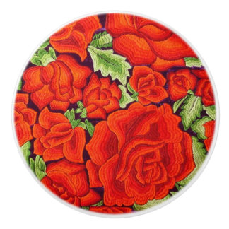 Mexican Embroidery Floral Orange Bold Colors Coco Ceramic Knob