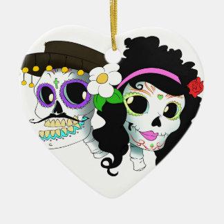 Mexican Festive Skull Couple Ceramic Heart Decoration