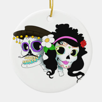 Mexican Festive Skull Couple Christmas Ornament
