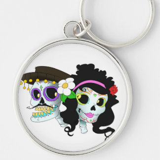Mexican Festive Skull Couple Key Ring