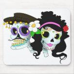 Mexican Festive Skull Couple Mousepads